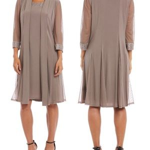 R&M Richards classic dress paired with duster NWT
